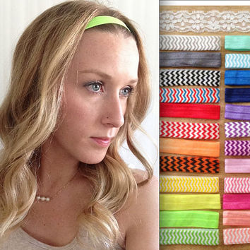 Elastic Headband - Baby Elastic Headband - Yoga Headband - Chevron Headband - Lace Headband - Boho Headband - Workout Headband - Child