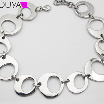 Fashion Stainless Steel Silver Big Wide Round Link Statement Necklace