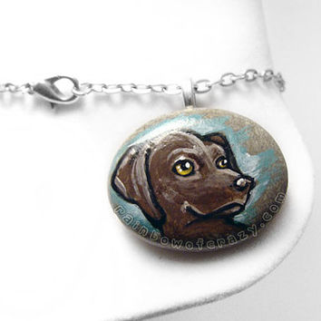 Labrador Necklace, Dog Pendant, Pet Portrait, Charm Accessory, Brown Lab Art, Beach Stone, Pet Owner Gift, Pet Memorial Jewelry
