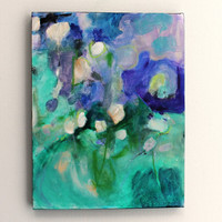 "Abstract Painting Purple Green Contemporary Modern Art ""Sweet Smells on the Breeze"""