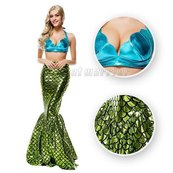 Fantastic Little Mermaid cosplay costume Ariel Mermaid tail  fancy green sexy dress  with Bra adults party show