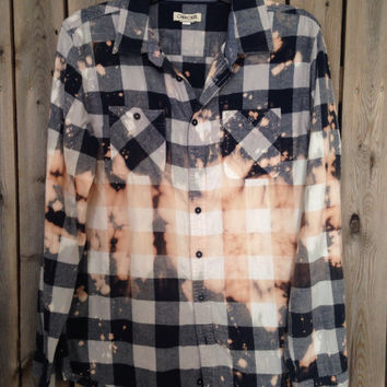 Super soft grunge bleached flannel unisex shirt size small