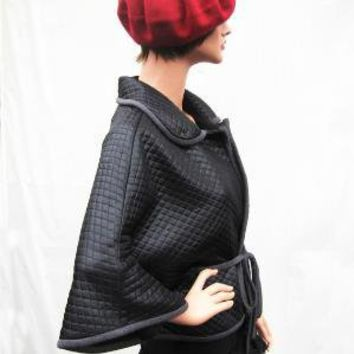 Black Cape With Grey Belt by fayefayeyang on Etsy