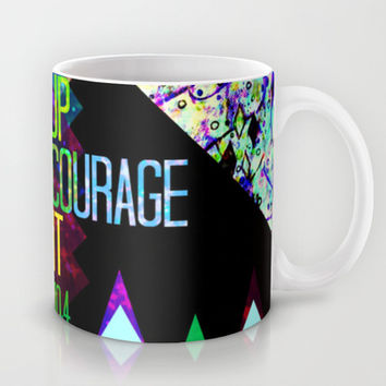 RISE UP TAKE COURAGE AND DO IT Colorful Geometric Floral Abstract Painting Christian Bible Scripture Mug by The Faithful Canvas