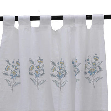 Linen Embroidered Curtain, Flower Curtains, Linen Curtain, Sheer Linen Curtain, White Linen Drapes, Wedding Registry, Christmas Gift