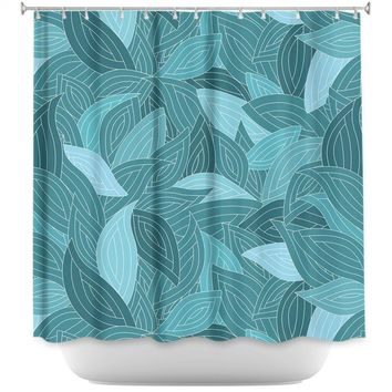 Shower Curtains By Julia Grifol Blue Leaves II