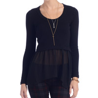 Central Park West Sheer Hem Pullover Sweater