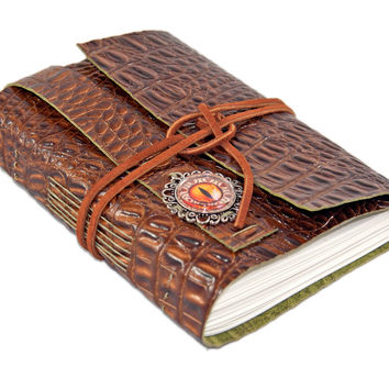 Brown Alligator Embossed Leather Journal - Eye Cameo - Bookmark - Ready to Ship - Travel Journal - Bound Journal - Art Journal - Diary -