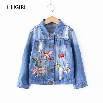 LILIGIRL Vintage Tops Jackets for Girls Baby Embroidery Denim Coat Clothing 2018 Kids Autumn&Winter Butterfly Birdie Windbreaker