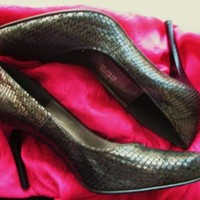 CARISMA  SHOES  BLACK LEATHER SNAKE STILETTOS PUMPS ! S 7.5M/38 !MADE IN ITALY