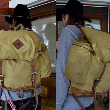 Vintage 70's ALPINE DESIGN Leather Bottom Rucksack Backpack