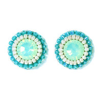 Mint stud earrings - mint green turquoise blue bridesmaids bridal jewelry unique gift - swarovski delicate button earrings