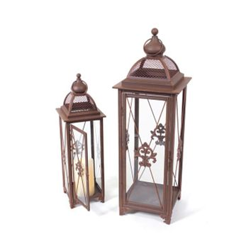 Set of 2 Rust Fleur-De-Lis Fanciful Pillar Candle Holder Lanterns