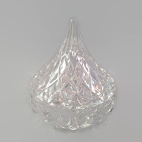 Cut Crystal Candy Dish Lidded Shaped Like a Hersey Kiss or Tear Drop