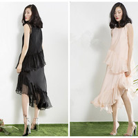 sleeveless dress in black,white,orange,asymmetrical,knee length,layered,high fashion,made from silk,womens dresses,summer dress.--E0098