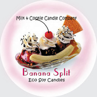 Banana Split Sundae Scented Eco Soy Candle Tin  Awesome Banana Split Scent, Lead Free Wicks
