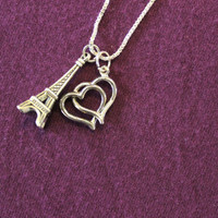 """Silver """"I Love Paris"""" necklace - eiffel tower and heart charms"""