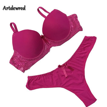 Women Underwear Solid Vs Bra Thong Sets Sexy Plus Size Lingerie Suit Lace Bra And Panties Female Push Up Bra Set