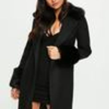 Missguided - Black Formal Coat With Fur Collar And Cuff
