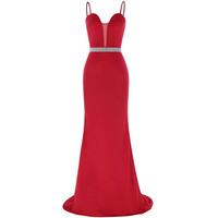 Mermaid Dress Long Red Prom Dresses with Stones Galajurken Spaghetti Straps Evening Party Dresses Ballkleider Formal Prom Gowns