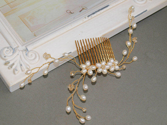 Gold Pearl Hair Comb Babys Breath Comb with by jewellerymadebyme