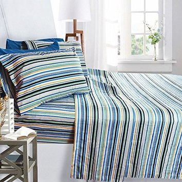 Printed Bed Sheet Set, King Size - Striped - By Clara Clark, 6 Piece Bed Sheet 100% Soft Brushed Microfiber, With Deep Pocket Fitted Sheet, 1800 Luxury Bedding Collection, Hypoallergenic,