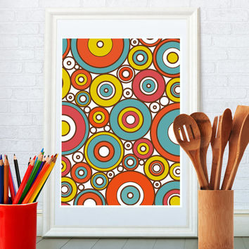 Abstract geometric art print, Kitchen art, Nursery print, Mid century modern poster, Home decor