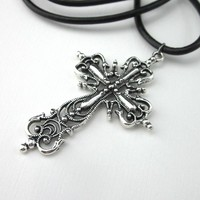 Silver Cut Out Filigree Large Cross Pendant With Leather Cord 19 Inch