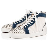 Christian Louboutin Cl 19s Ac Lou Spikes Orlato Flat Mesh Version Natural Sneakers