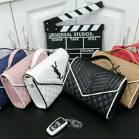 """YSL""Fashion Letter Logo Metal Chain Single Shoulder Messenger Lingge Bag Women Flip Small Square Bag Handbag Bag"