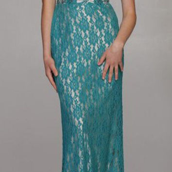 Strapless Sweetheart Neckline Long Lace Teal Mermaid Dress