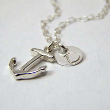 Silver Anchor necklace, small anchor necklace, tiny ancor, hope necklace, nautical jewlery, nautic necklace, initial necklace, gift