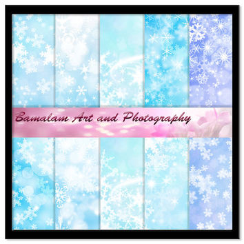 Frozen Snowflakes Backgrounds, Blue Digital Paper, Christmas Scrapbooking, Card Making