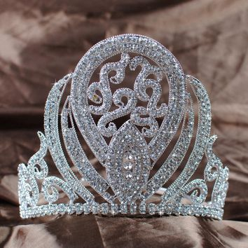 "Luxurious Queen Crown Handmade Bridal Wedding 5"" Rhinestone Princess Full Circle Tiara Pageant Party Costumes Fashion Jewelry"