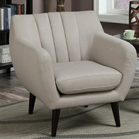 Collette collection beige fabric upholstered accent chair