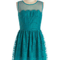 ModCloth Short Sleeveless A-line Fashionably Undulate Dress in Teal