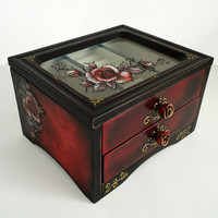 Distressed Shabby-chic Red Black Jewelry Trinkets Box Home Table Decoration Decoupage Glass Painting Roses