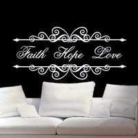 Christian Wall Decal Faith Hope Love 22200