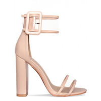 Harlow Beige Transparent Strap Buckle Block Heels : Simmi Shoes