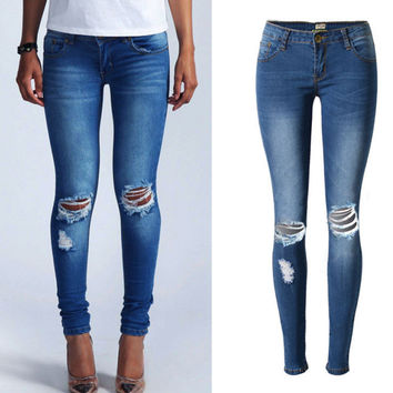 Deep Blue Elastic Low Waist Denim Pants