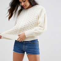 ASOS Sweater in Cable with Volume Sleeve at asos.com