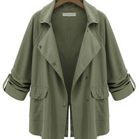Lapel Collar Back Slit Trench Coat - OASAP.com