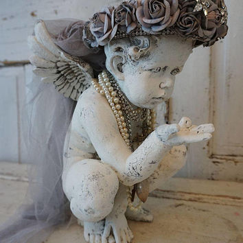 Cherub statue w/ gray roses crown French Nordic white distressed embellished angel shabby cottage or farmhouse home decor anita spero design