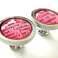 Hot Pink Neon Pink LIMITED EDITION COLOR Cabinet Knobs Vintage Library Card Catalog Drawer Pulls - Set of 2 (Two)