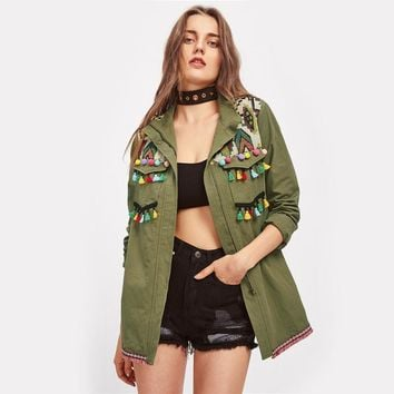 Lapel Embroidered  Utility Jacket