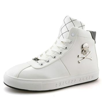 Men Casual Shoes High Quality Skull Men Sneakers Hip Hop Leather