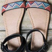 Pasadena Black Tribal Print Flat Sandals