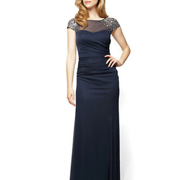 Alex Evenings Beaded Cap Sleeve Gown