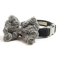 Dog Collar Bow - Chiffon Dog Bow - Grey Chiffon Bow - Gray Chiffon Bow - Collar Attachment - Dog Collar Accessory - Girl Dog Bow