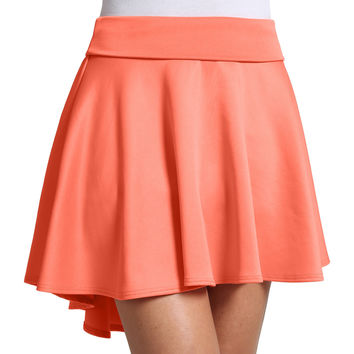 LE3NO Womens High Waisted High Low Stretchy Skater Skirt (CLEARANCE)